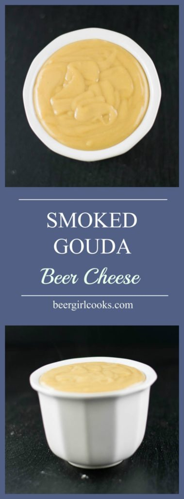 Smoked Gouda Beer Cheese is a delicious creamy appetizer that's perfect appetizer dip for entertaining or watching the big game. Serve it with some homemade beer pretzels, vegetable sticks, bread or pour it over some pasta for a winning mac 'n cheese!